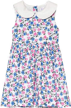 Rachel Riley Blue And Pink Rose Peter Pan Collar Dress