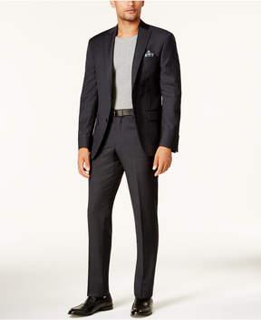 DKNY Men's Slim-Fit Black & Blue Charcoal Tonal Suit