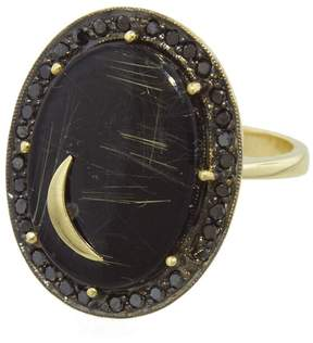 Andrea Fohrman Black Onyx with Rutilated Quartz Crescent Moon Ring