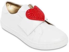 MonnaLisa Leather Strap Sneakers W/ Heart Detail