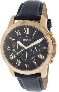 Fossil Men's Grant FS4835 Blue Leather Analog Quartz Dress Watch