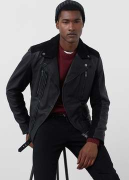 Mango Outlet Mixed leather biker jacket