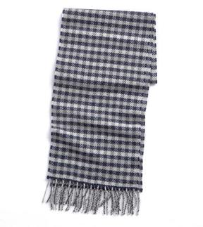 Drakes Drake's Large Houndstooth Scarf in Dark Grey