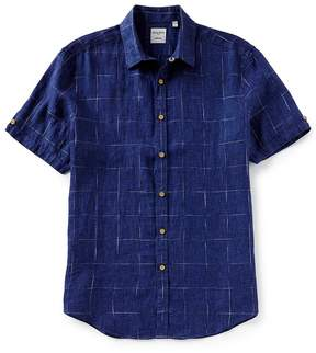 Murano Windowpane Linen Short-Sleeve Woven Shirt