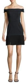 ABS by Allen Schwartz Off-The-Shoulder Pleated Hem Dress