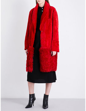 Drome Ladies Red Contrast Single-Breasted Shearling Coat