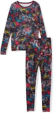 Cuddl Duds Purple Texture Comfortech Base Layer Top & Leggings - Girls