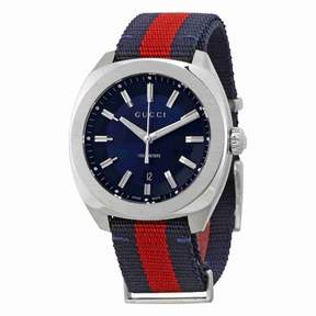 Gucci GG2570 Blue Dial Blue and Red Nylon Men's Watch YA142304