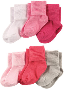 Luvable Friends Coral & Pink Cuff Six-Pair Socks Set - Infant