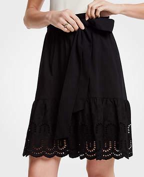 Ann Taylor Eyelet Hem Flounce Skirt