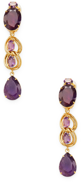 Bounkit Women's Double Amethyst Convertible Drop Earrings