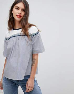 Esprit Stripe And Jersey Smock Top