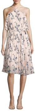 Shoshanna Women's Pleated Floral-Print Halter Dress