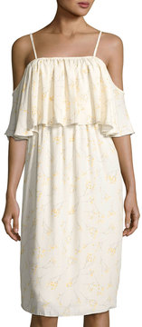 Bishop + Young Lily Cold-Shoulder Tiered Dress, White Pattern