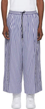 Juun.J Navy and White Striped Wide-Leg Trousers