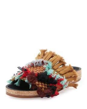 Chloé Kerenn Woven Fringe Slide Sandals, Tan