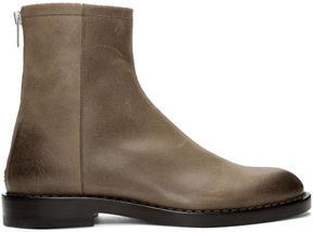 Maison Margiela Brown Leather Zip Boots