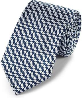 Charles Tyrwhitt Navy Blue and White Silk Geometric Classic Tie
