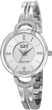 Burgi Silver Diamond Dial Stainless Steel Case Ladies Watch