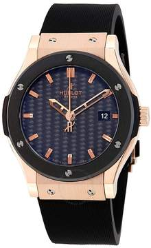 Hublot Classic Fusion Black Carbon Fiber Dial 18K Rose Gold Black Rubber Men's Watch