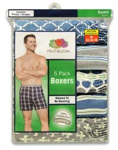 Fruit of the Loom Men's Fashion Print Boxers, 5-Pack