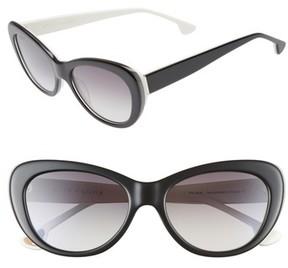 Alice + Olivia Women's Ludlow 53Mm Gradient Lens Cat Eye Sunglasses - Black/ White