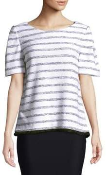 Ellen Tracy Tweed Short-Sleeve Striped Sweater