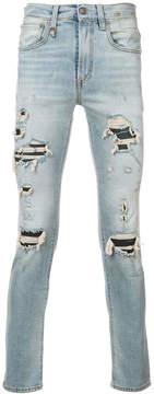 R 13 distressed slim-fit jeans
