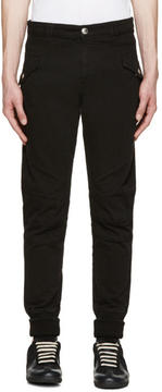 Pierre Balmain Black Ribbed Cuff Biker Trousers