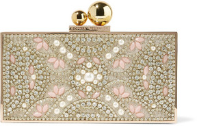 Sophia Webster Clara Embellished Gold-tone Box Clutch