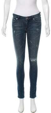 BLK DNM Distressed Mid-Rise Skinny Jeans