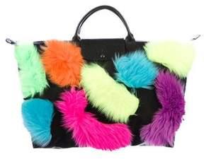 Longchamp X Jeremy Scott Faux Fur-Accented Tote w/ Tags