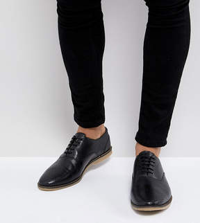 Asos Wide Fit Casual Lace Up Shoes In Black Leather With Perforation detail