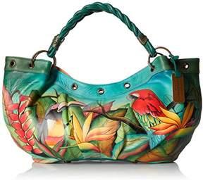 Anuschka Women's Genuine Leather Large Braided Handle Shoulder Bag | Hand Painted Original Artwork |
