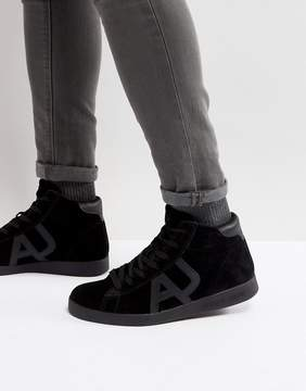 Armani Jeans Hi Top Suede Logo Sneaker in Black