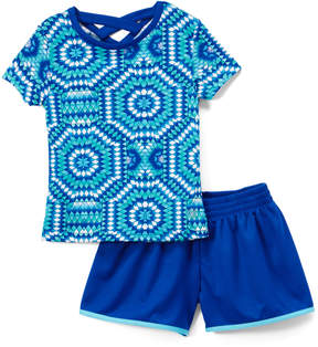 Gaiam Turquoise Geometric Crisscross-Back Tee & Blue Shorts - Girls