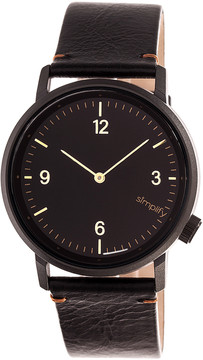 Simplify Black The 5500 Leather-Strap Watch