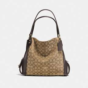 COACH COACH EDIE SHOULDER BAG 31 IN SIGNATURE JACQUARD - KHAKI/BROWN/LIGHT GOLD