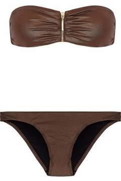 Melissa Odabash Zip-Detailed Ruched Bandeau Bikini