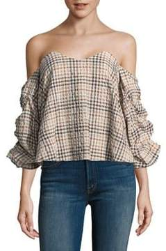 Caroline Constas Gabriella Off-The-Shoulder Check Top