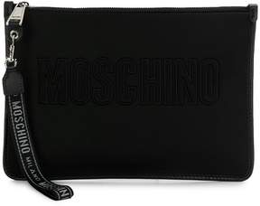 Moschino logo embroidered clutch bag
