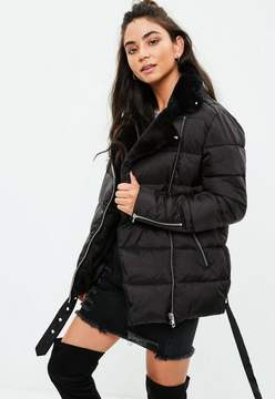Missguided Black Puffer Aviator Jacket