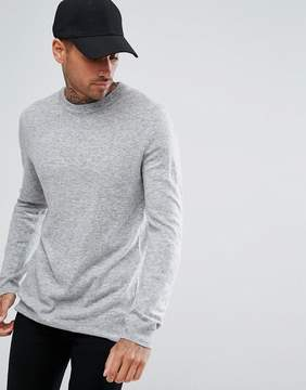 Pull&Bear Lightweight Sweater In Light Gray