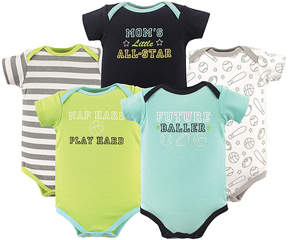 Luvable Friends Green & Aqua 'Sports' Basic Bodysuits - Set of Five