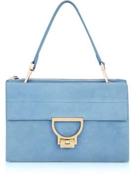 Coccinelle Sky Blue Suede Arlettis Shoulder Bag
