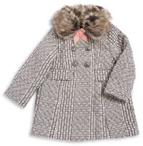 Jessica Simpson Little Girl's Faux-Fur Collar Tweed Coat