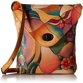 Anuschka Anna by Genuine Leather V-Shap Flap Cossbody Bag | Hand-Painted Original Artwork |