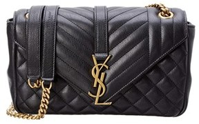 Saint Laurent Classic Medium Envelope Matelasse Leather Shoulder Bag. - BLACK - STYLE