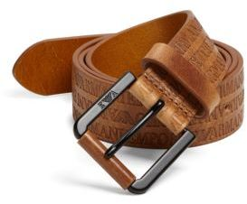 Emporio Armani Multi-Logo Leather Belt