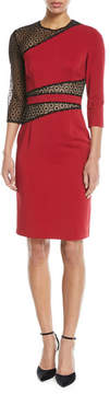 Naeem Khan NK32 Mesh-Inset Knee-Length Sheath Dress